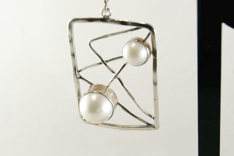 Pendiente Plata-Perla