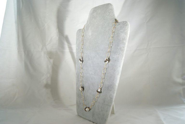 Collar de Plata Dorada con Perlas Barrocas y Espinelas
