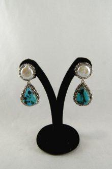 Pendientes Marcasitas con Turquesas y Perlas